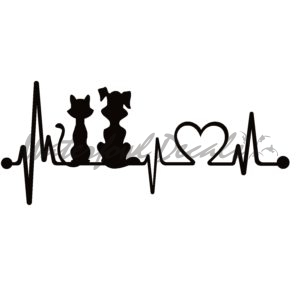 Dog and Cat Heartbeat Lifeline Decal
